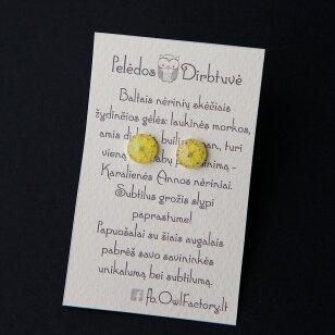 "Sidabriniai auskarai ""Yellow Queen"" (10mm)"