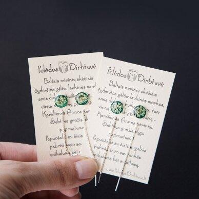 "Sidabriniai auskarai su grandinėlėmis ""Green Queen"" (8mm) 2"