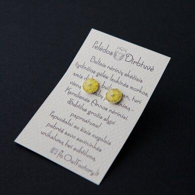 "Sidabriniai auskarai ""Yellow Queen"" (8mm) II"